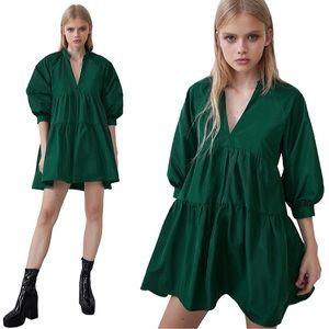 ZARA | Tiered Taffeta Dress